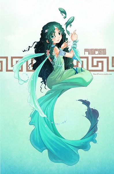Tags: Anime, Zetallis, Zodiac (Personification), Pisces, Greek Clothes, Greek Key Pattern, Original, Mobile Wallpaper, Zodiac
