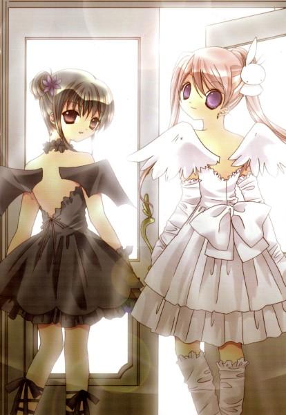 Tags: Anime, Koge-Donbo*, Pita Ten, Shia, Misha, Bat Hat, Official Art, Mobile Wallpaper