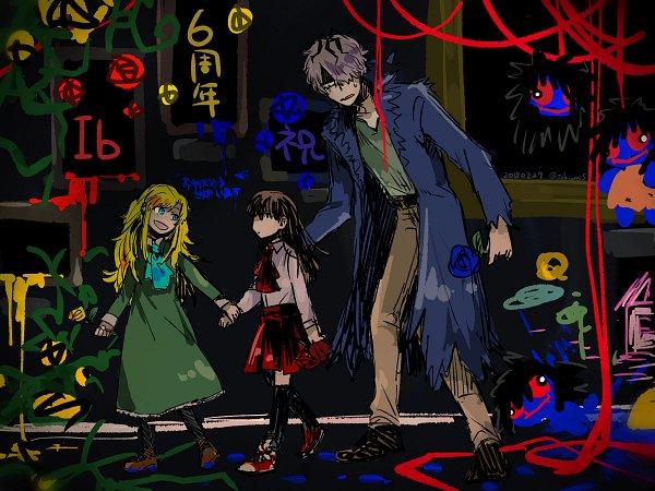 Tags: Anime, Pixiv Id 12853525, Ib, Blue Doll, Mary (Ib), Garry, Painting (Object), Pixiv, Wallpaper