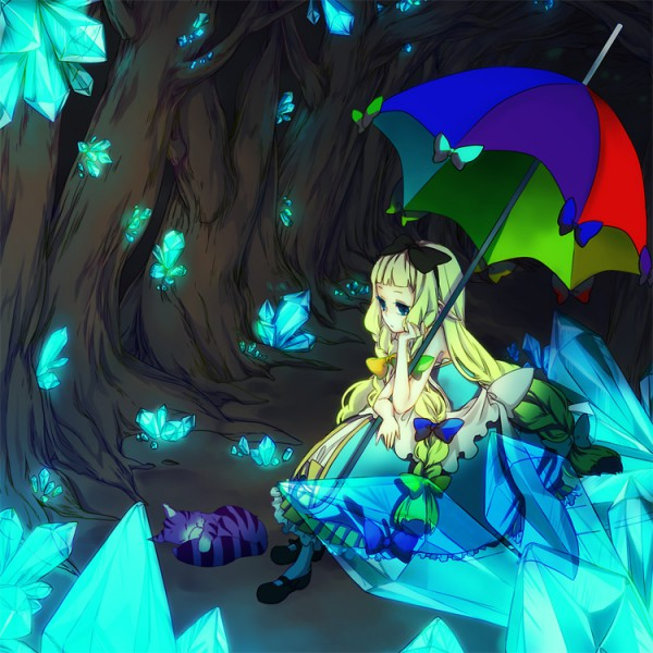 Tags: Anime, Maico (artist), Alice in Wonderland, Cheshire Cat, Alice (Alice in Wonderland), Cave, Pixiv, Pixiv Fantasia