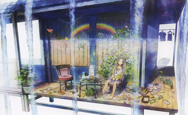 Tags: Anime, Pixiv Girls Collection 2012, Pixiv Girls Collection, Tissue, Kappa, Transparent Object, Potted Plant, See Through Umbrella, Paper Airplane, Trowel, Morning Glory, Clothes Hanger, Pixiv