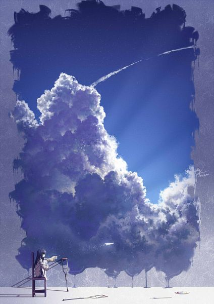 Tags: Anime, Pixiv Id 10489689, Paper Airplane, Crutches, Painting (Object), Pixiv, Original