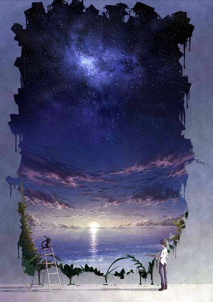 Tags: Anime, Pixiv Id 10489689, Ladder, Sunrise, Morning, Painting (Object), Original, Pixiv