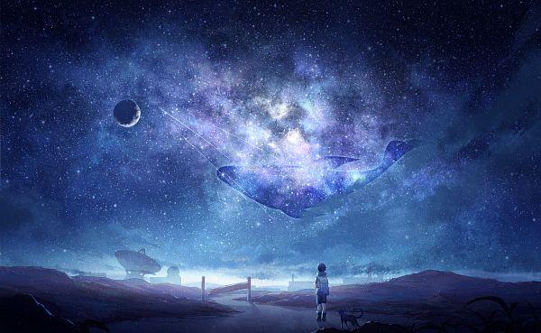 Tags: Anime, Pixiv Id 10489689, Milky Way, Whale, Satellite, Path, Galaxy, Aquatic Animal in the Sky, Pixiv, Original