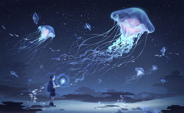 Tags: Anime, Pixiv Id 10489689, Jellyfish, Aquatic Animal in the Sky, Bioluminescence, Original, Pixiv