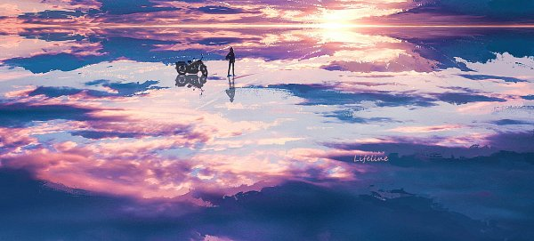 Tags: Anime, Pixiv Id 10885193, Water Reflection, Motorcycle Helmet, Pixiv, Original, Wallpaper