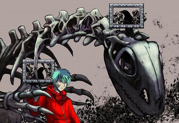 Tags: Anime, Pixiv Id 137107, Black Bird, Dinosaur, Ribs, Original, Pixiv