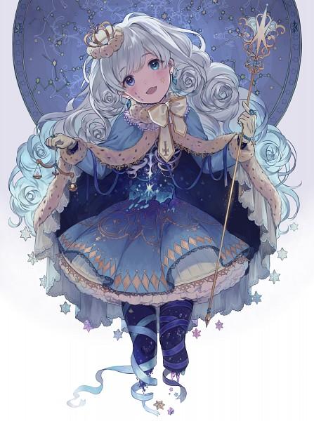 Tags: Anime, Pixiv Id 13921716, Facial Tattoo, Mini Crown, Scepter, No Legs, Royal Robe, Pixiv, Original, Mobile Wallpaper