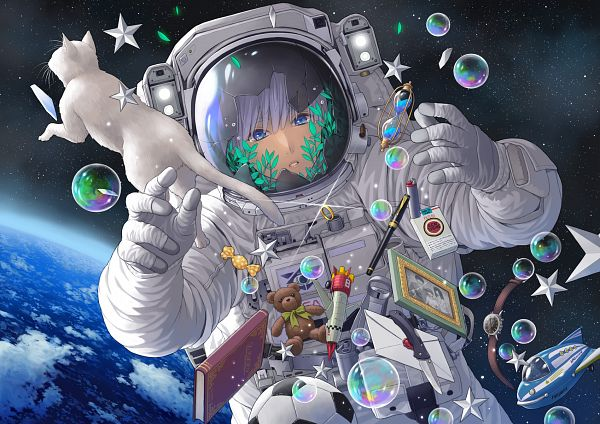 Tags: Anime, Pixiv Id 13988756, Space Suit, Hourglass, White Cat, Spaceship, Pixiv, Original