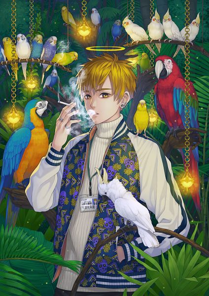Tags: Anime, Pixiv Id 13988756, Parrot, Bird on Shoulder, Original, Pixiv