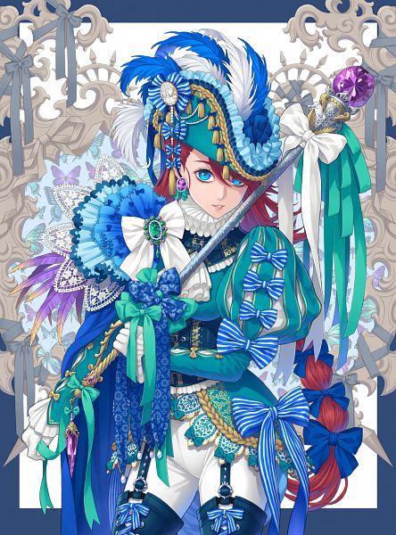Tags: Anime, Pixiv Id 13988756, Scepter, Hat Feather, Purple Gem, Pixiv, Original