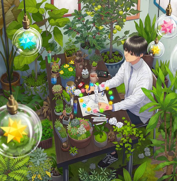Tags: Anime, Pixiv Id 13988756, Sphere, Orb, Potted Plant, Drawing (Action), Original, Pixiv