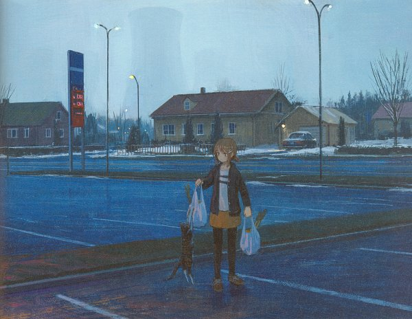 Tags: Anime, Pixiv Id 14707888, 100 Masters of Bishoujo Painting, Shopping Bag, Garage, Holding Bag, Gray Sky, Self Scanned, Scan, Pixiv, Original