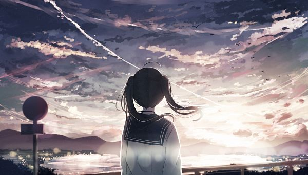 Tags: Anime, Pixiv Id 15230614, Sunrise, Railing, Contrail, Sign Board, Morning, Pixiv, Original