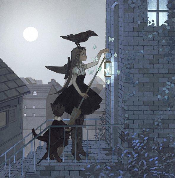 Tags: Anime, Pixiv Id 1552606, Roof, Herbs, Bird on Head, Brick Wall, Black Bird, Original, Tumblr