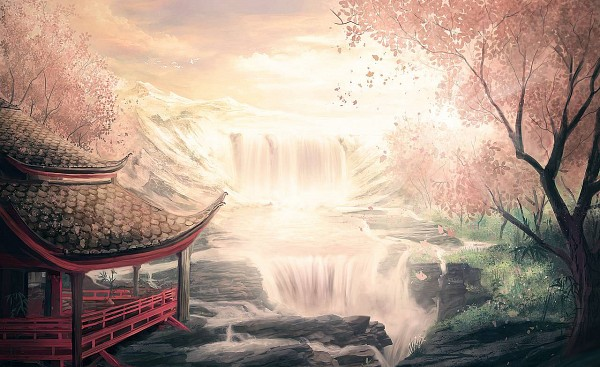 Tags: Anime, Pixiv Id 2109890, Waterfall, Pagoda, Cliff