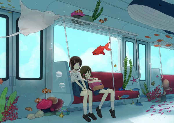 Tags: Anime, Pixiv Id 233980, Reef, Coral, Train Interior, Jellyfish, Stingray, Surreal, Dark Colors, Seaweed, Whale, Starfish, Aquatic Animal in the Sky