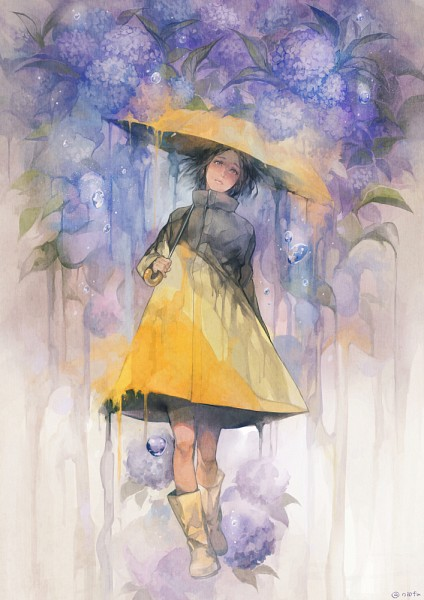 Tags: Anime, Pixiv Id 2600327, Rain Coat, Yellow Outerwear, Rain Boots, Yellow Footwear, Yellow Umbrella, Original, Watercolor, Traditional Media, PNG Conversion, Pixiv, Mobile Wallpaper