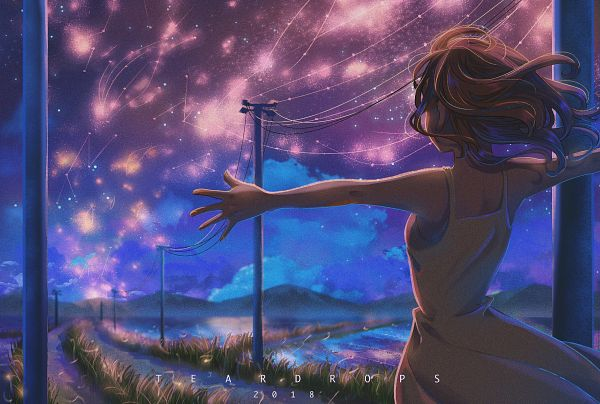 Tags: Anime, Pixiv Id 27354041, Utility Pole, Galaxy, Path, Rice Field, Fireflies, Power Lines, Milky Way, Water Reflection, Pixiv, Original