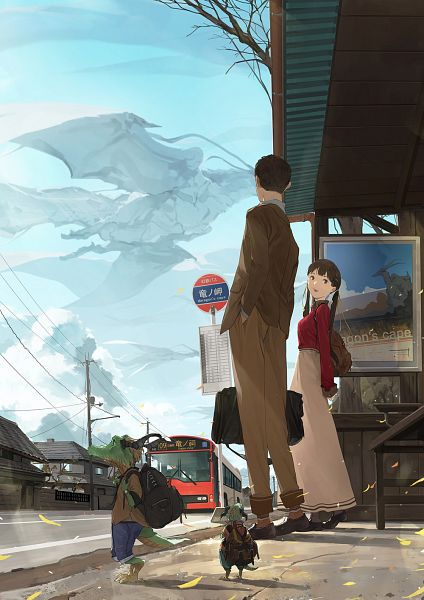 Tags: Anime, Pixiv Id 2745133, Ryuumimi, Bus, Sign Board, Power Lines, Painting (Object), Utility Pole, Bus Stop, Pixiv, Original