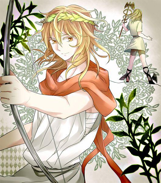 Tags: Anime, Pixiv Id 2958089, Hermes (Mythology), Apollo (Mythology), Laurel Wreath, God, Greek Myths, Pixiv, Original