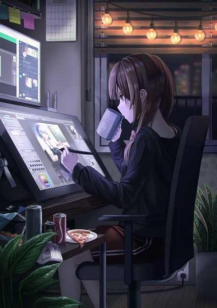 Tags: Anime, Pixiv Id 31499166, Re:Zero Kara Hajimeru Isekai Seikatsu, Rem (Re:Zero), Calendar (Object), Pizza, Monitor, Chips, Drawing (Action), Original