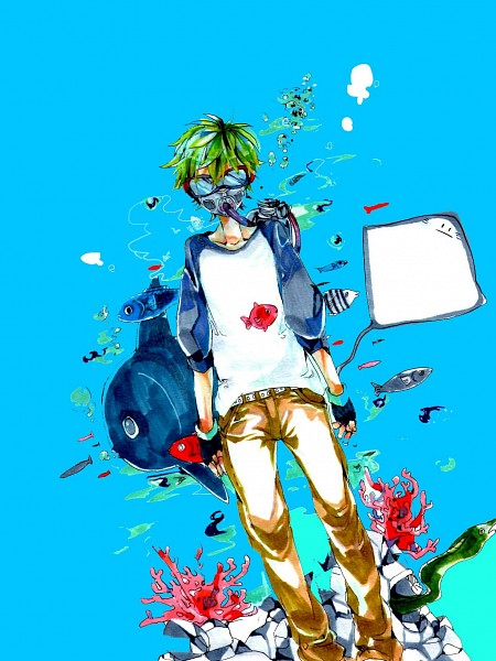 Tags: Anime, Pixiv Id 3151396, Stingray, Eel, Sunfish, Diver, Coral, Aqua Background, Pixiv, Original