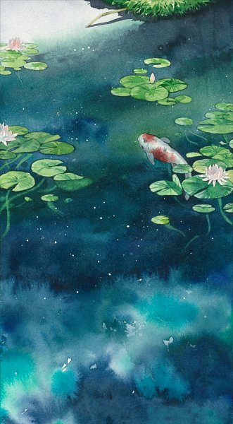 Tags: Anime, Pixiv Id 353554, Lily Pads, Pixiv, Original, Watercolor, Traditional Media