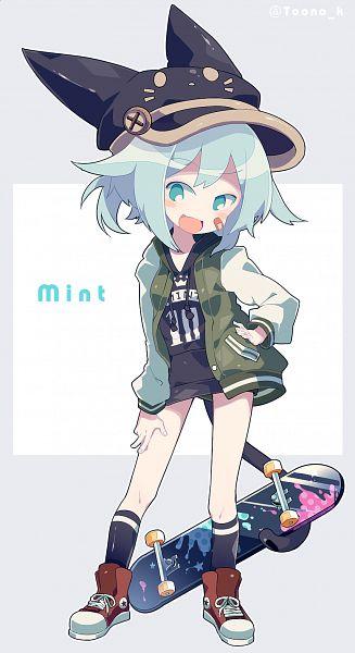 Tags: Anime, Pixiv Id 4144433, Skateboard, Cat Hat, Original, Pixiv