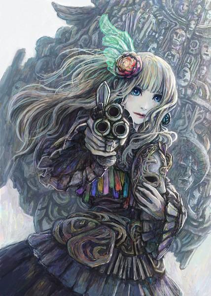 Tags: Anime, Pixiv Id 616955, Aiming At Camera, Carnival Mask, Pixiv, Mobile Wallpaper, Original