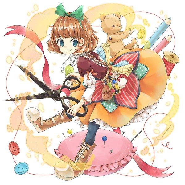 Tags: Anime, Pixiv Id 6380810, Oversized Object, Orange Ribbon, MerSto Iracon New Design, Merc Storia 1st Anniversary Illustration Contest