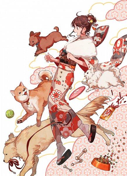Tags: Anime, Pixiv Id 7274164, Hair Up, Tennis Ball, Leash, Dog Food, Dog Bowl, Frisbee, Golden Retriever, Shiba Inu, Tennis, Pomeranian, Happy 2018