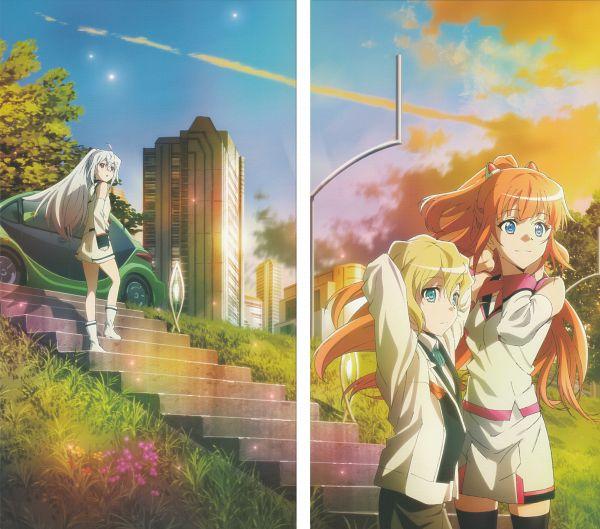 Tags: Anime, Nakajima Chiaki, Dogakobo, Plastic Memories, Kinushima Michiru, Isla (Plastic Memories), Zack (Plastic Memories), Official Art, Scan, DVD (Source)