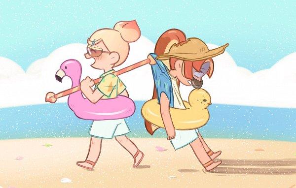 Tags: Anime, Pixiv Id 1802302, Cookie Run: OvenBreak, Cookie Run, Peach Cookie (Beach Party), Peach Cookie, Plum Cookie (Disciplined Vacation), Plum Cookie, Twitter, Fanart, PlumPeach