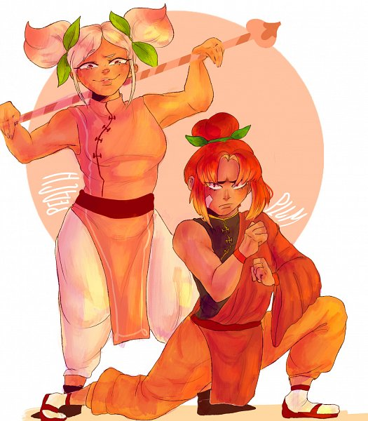 Tags: Anime, 620mg, Cookie Run: OvenBreak, Cookie Run, Plum Cookie, Peach Cookie, Orange Pants, Fanart From Tumblr, Tumblr, Fanart, PlumPeach