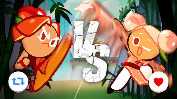Tags: Anime, Devsisters, Cookie Run: OvenBreak, Cookie Run, Plum Cookie, Peach Cookie, Orange Pants, Official Art, Twitter, PlumPeach
