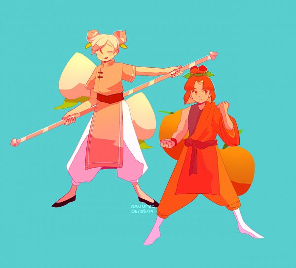 Tags: Anime, Asuuree, Cookie Run: OvenBreak, Cookie Run, Peach Cookie, Plum Cookie, Aqua Background, Orange Pants, Fanart, Fanart From Tumblr, Tumblr, PlumPeach
