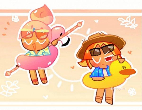 Tags: Anime, Sheepii, Cookie Run: OvenBreak, Cookie Run, Peach Cookie, Peach Cookie (Beach Party), Plum Cookie (Disciplined Vacation), Plum Cookie, Fanart, PlumPeach