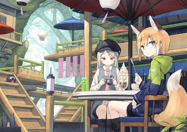 Tags: Anime, Poco, Restaurant, Holding Spoon, Pixiv, Original