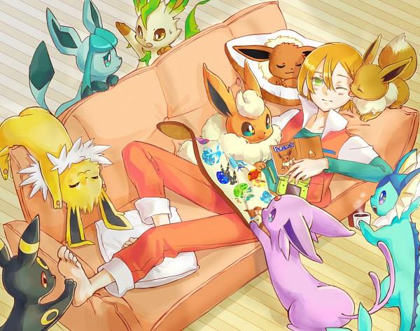 Tags: Anime, Rikovui, Pokémon (Anime), Pokémon, Glaceon, Jolteon, Virgil, Leafeon, Flareon, Umbreon, Espeon, Eevee, Vaporeon