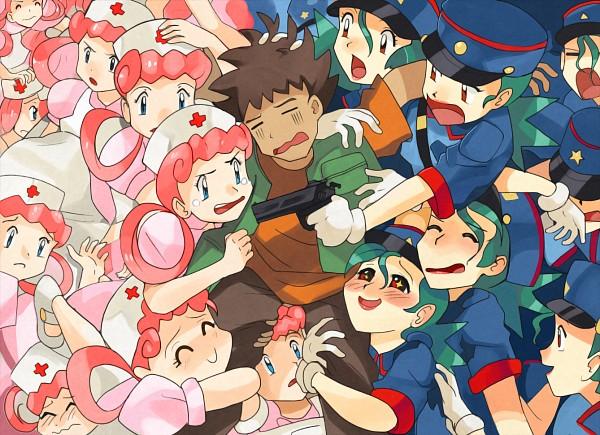 Tags: Anime, Pixiv Id 3031683, Pokémon (Anime), Pokémon, Jenny (Pokémon), Joy (Pokémon), Takeshi (Pokémon), Harem, Police Hat, Revision, Fanart From DeviantART, Fanart, Fanart From Pixiv