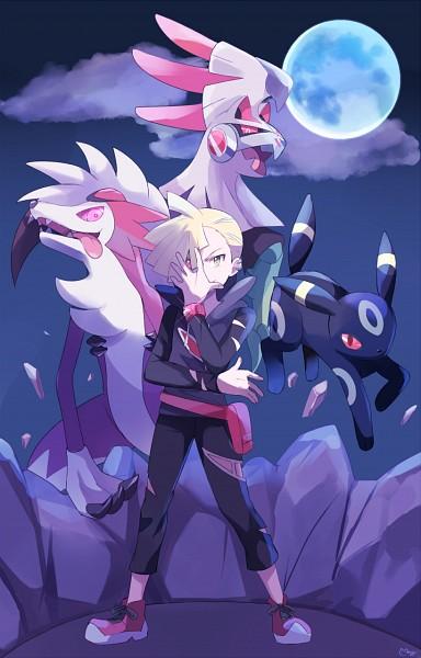 Tags: Anime, May (Pixiv Id 233774), Pokémon (Anime), Pokémon, Umbreon, Silvally, Lycanroc, Gladion, Mobile Wallpaper, Fanart, Tumblr, PNG Conversion