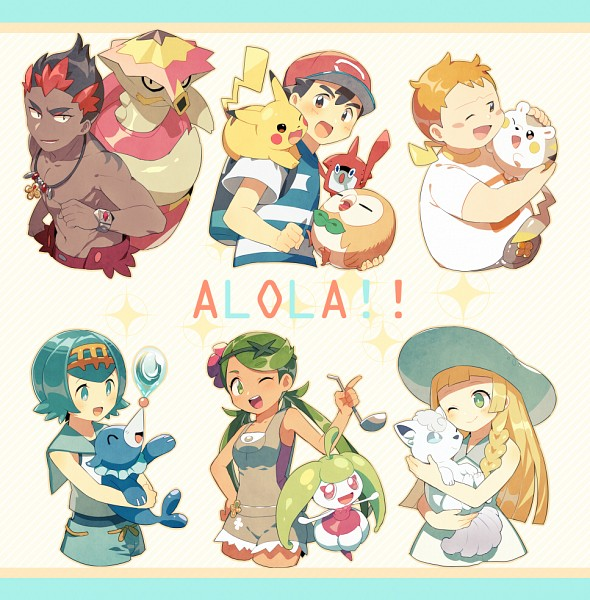 Tags: Anime, Pixiv Id 63418731, Pokémon (Anime), Pokémon, Togedemaru, Rotom, Maamane, Lillie (Pokémon), Vulpix, Kaki, Popplio, Steenee, Satoshi (Pokémon)
