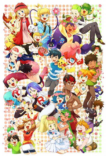 Tags: Anime, Pixiv Id 417383, Pokémon (Anime), Pokémon, Hikari (Pokémon), Mao (Pokémon), Rotom, Kenji (Pokémon), Togepi, Core Zygarde, Vulpix, Cosmog, Ralts