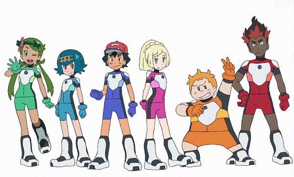 Tags: Anime, Pokémon (Anime), Pokémon, Maamane, Kaki, Satoshi (Pokémon), Mao (Pokémon), Suiren (Pokémon), Lillie (Pokémon), Official Art