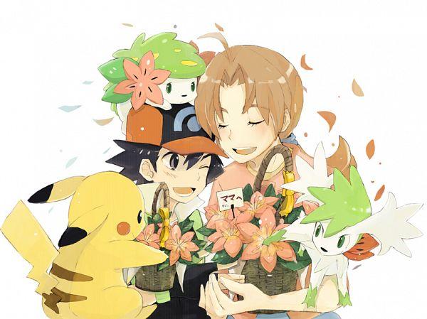 Tags: Anime, Pixiv Id 127913, Pokémon (Anime), Pokémon the Movie: Giratina and the Sky Warrior, Pokémon Diamond & Pearl, Pokémon Red & Green, Pokémon, Mother (Pokémon), Satoshi (Pokémon), Hanako (Pokémon), Pikachu, Shaymin, Mother's Day