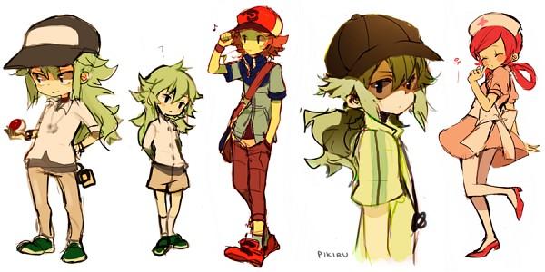 Tags: Anime, Pikiru, Pokémon, Joy (Pokémon), Touya (Pokémon), N (Pokémon), Green Footwear, Sketch, Facebook Cover, deviantART