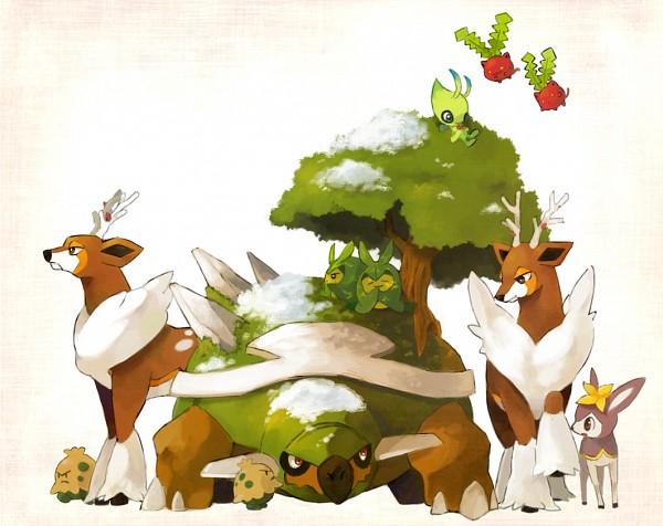 Tags: Anime, Pixiv Id 2647965, Pokémon, Deerling, Shroomish, Celebi, Swadloon, Hoppip, Torterra, Sawsbuck, Deer, Legendary Pokémon