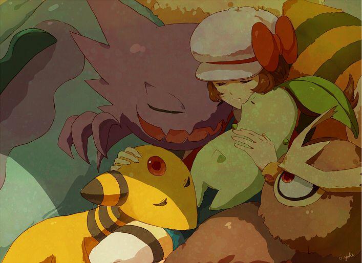Tags: Anime, o-yuki, Pokémon, Haunter, Kotone (Pokémon), Quagsire, Chikorita, Noctowl, Ampharos, Arcanine, Fanart, Pixiv