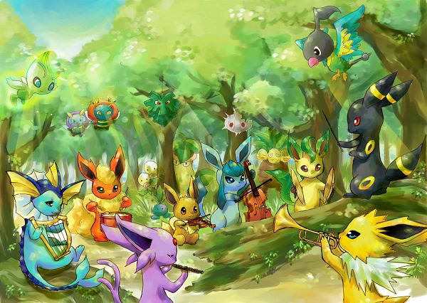 Tags: Anime, Rikovui, Pokémon, Flareon, Silcoon, Illumise, Umbreon, Celebi, Exeggutor, Espeon, Oddish, Eevee, Pineco